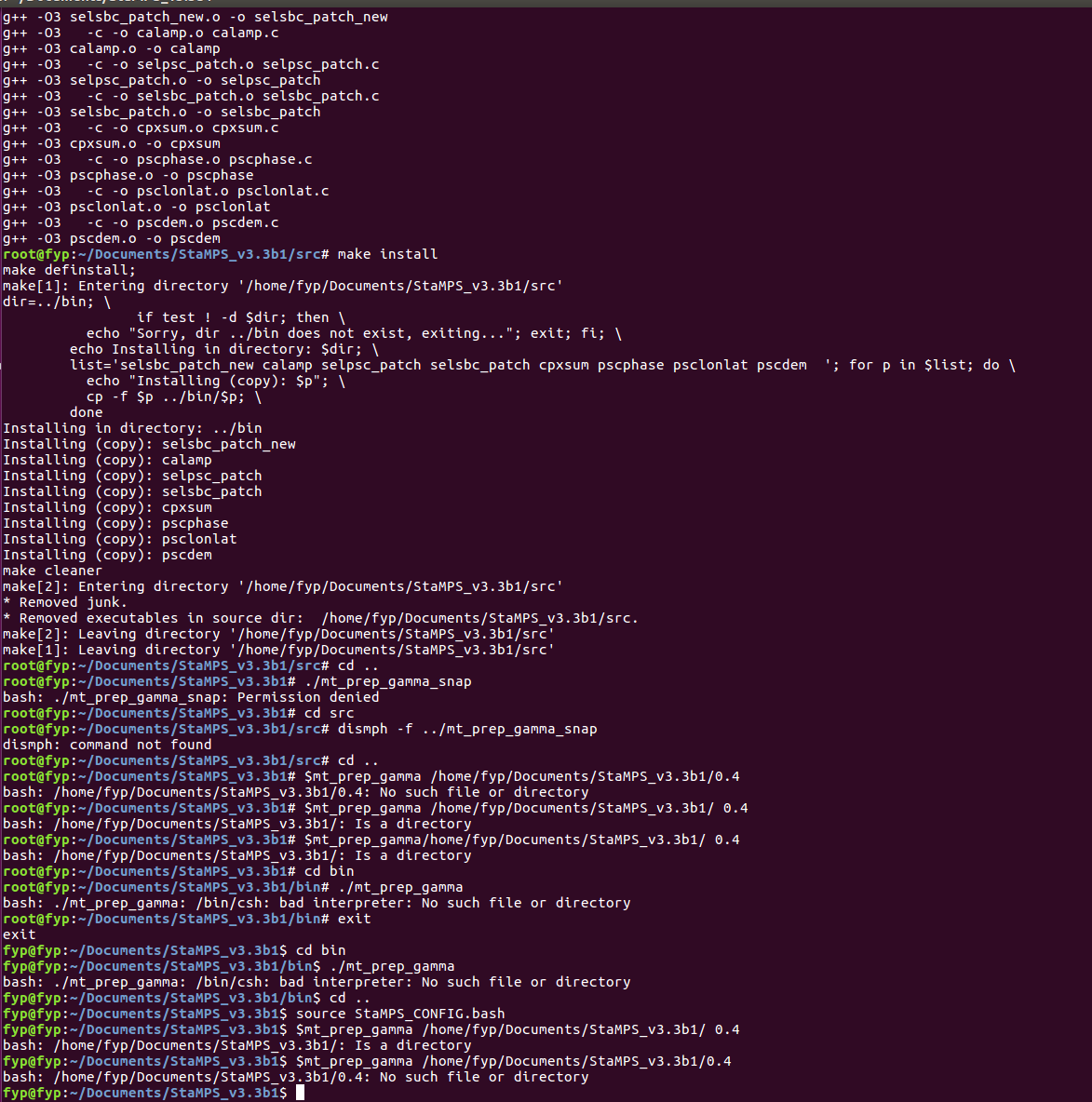 Linux Installation using StaMPS and S-1 data - STaMPS - STEP