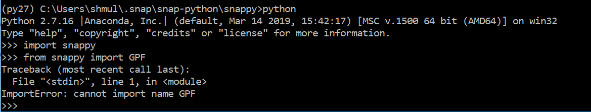Having trouble getting snappy to import GPF, HashMap etc - python