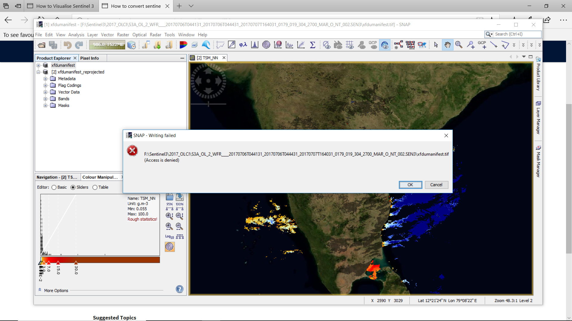 How to convert sentinel 3 xml file to GeoTiff format - s3tbx