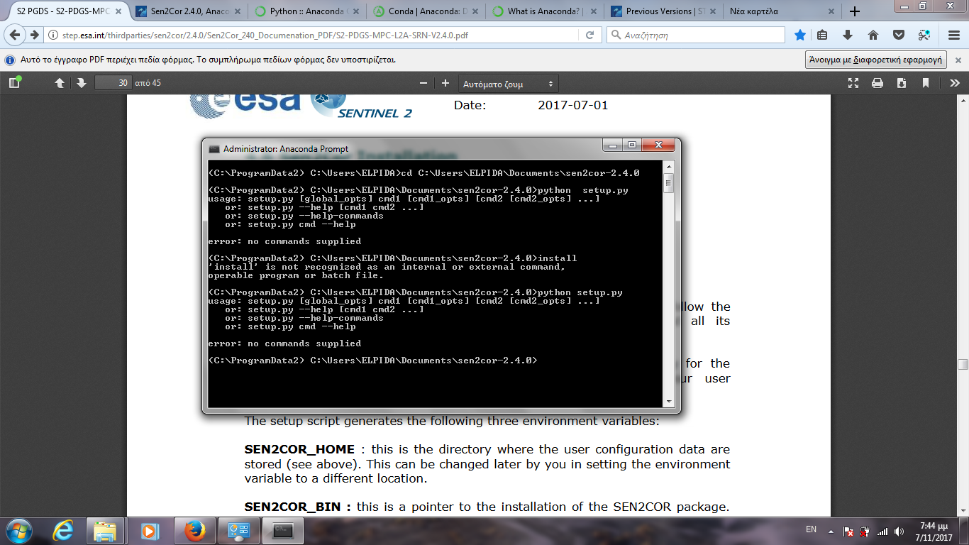 Sen2Cor 2 4 0, Anaconda based Version, Recent Issues - sen2cor