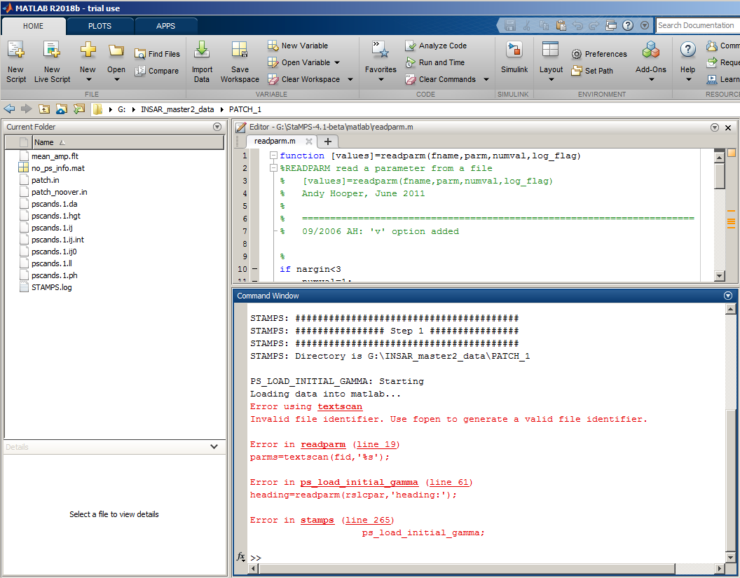 PSI: Error on first step on Matlab - STaMPS - STEP Forum