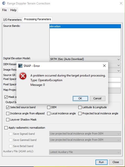SNAP error - Terrain correction SAOCOM DEM